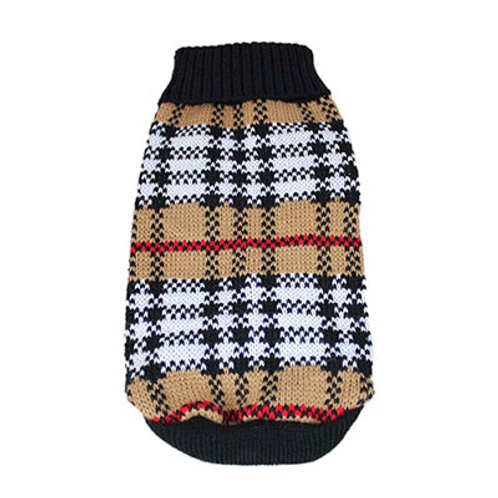 Plaid Knitted Doggy Sweater