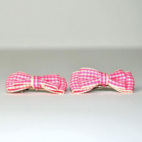 Pink & White Tartan Clips