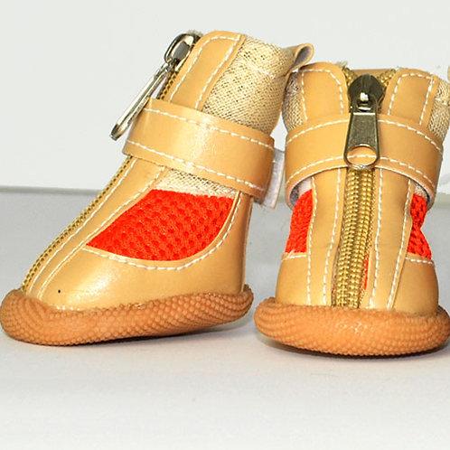 Tan High-Top Sneakers with Orange Mesh