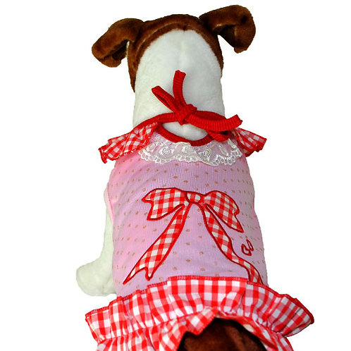 Frilled Pink Top with Red & White Tartan Bow