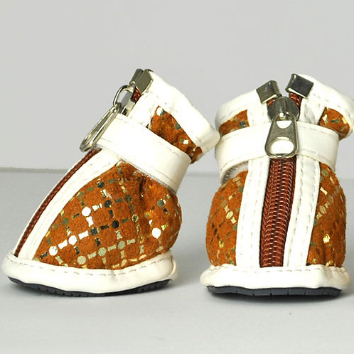 Brown & Gold Patterned Shoes