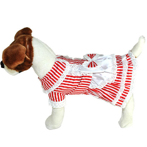 Red Stripe Maid Dress with Bow