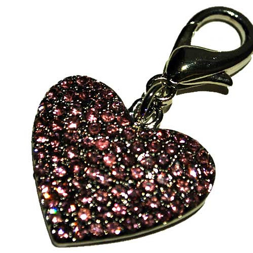 Pink Diamond Heart Charm with Clasp