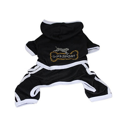 Dog Sport Outfit Black with Hoodie