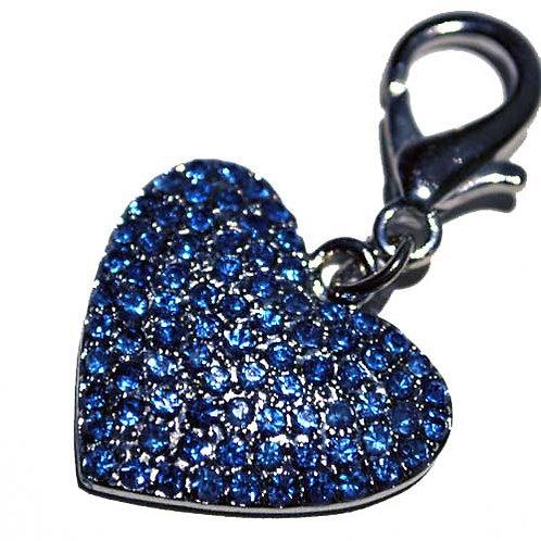 Blue Diamond Heart Charm with Clasp