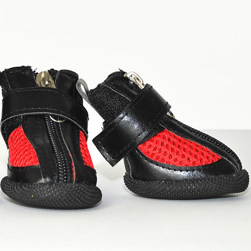 Black Sneakers with Red Mesh