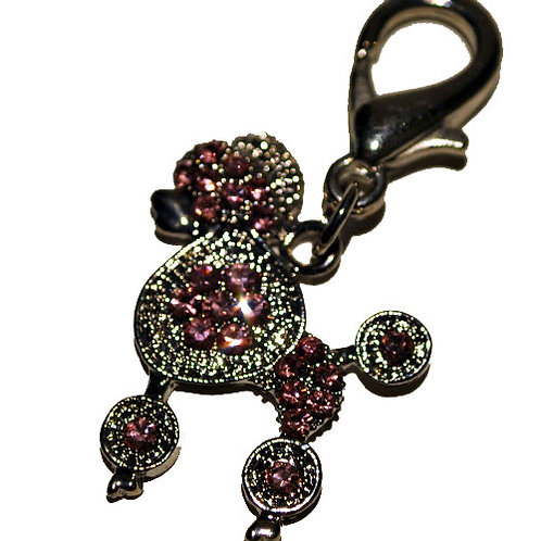 Pink Poodle Diamonte Charm with Clasp