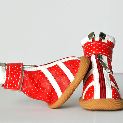 Red Sneakers with White Stripes