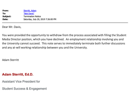 Investigation: Emails show candidate was offered, quickly terminated from OSM director position