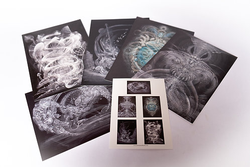 "Martina Hoffmann ""Totem"" lot de 5 cartes."