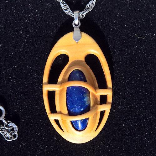Arludik. Pendentif Buis, Lapis lazuli, argent