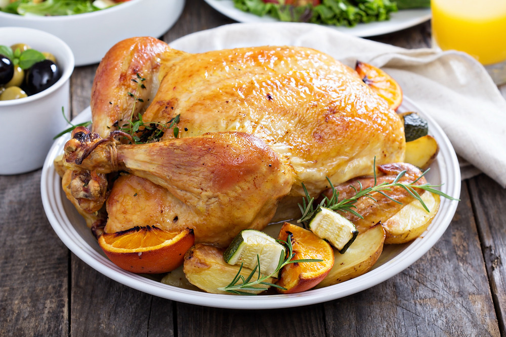 Roast a turkey with lots of root vegetables and refrain from using too much salt!