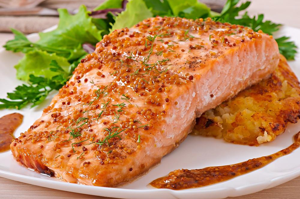 Baked salmon with honey-mustard sauce and potato gratin.jpg