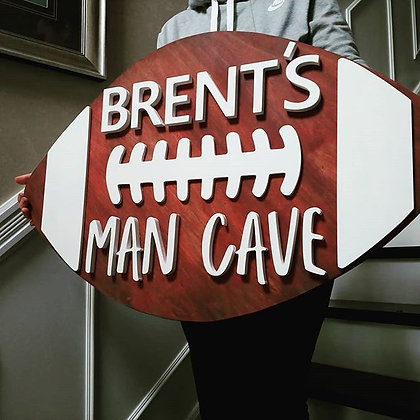 """3D sign - Football """"Mancave""""23""""x36""""  fully finished"""