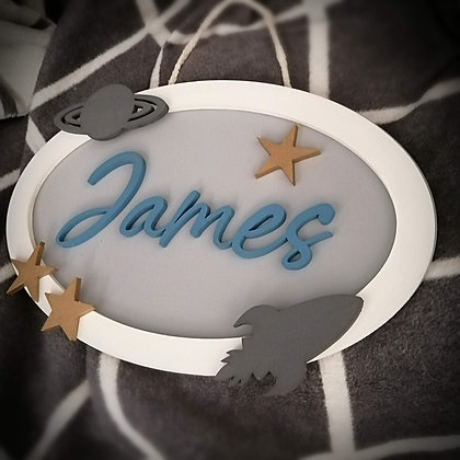 "3D sign - OVAL One Name - ""outerspace"" 10""x15""  fully finished"