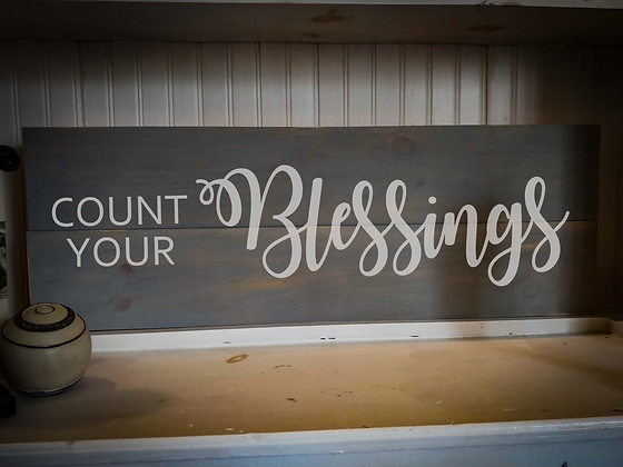 "Rustic Wooden Sign Project ""Blessings""  11""x 32"""