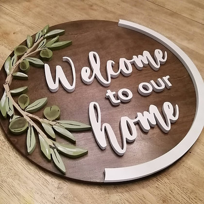"""Wooden Sign Project """" Welcome to our Home"""" 23.5"""" round DIY"""