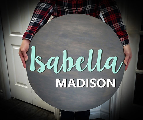 """3D wooden sign project """"Two Names only""""  23.5"""" round"""