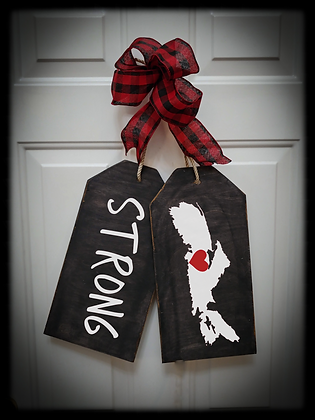 "Wooden project Door Tags ""STRONG / MAP"""