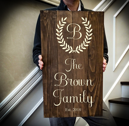 """Rustic Wooden Sign project """"Monogram with laurel"""" 14""""x24"""""""