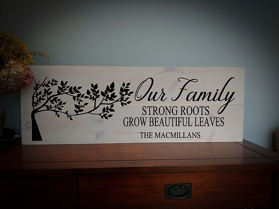 """Rustic Wooden Sign Project """"Our Family - Tree""""  11""""x 32"""""""