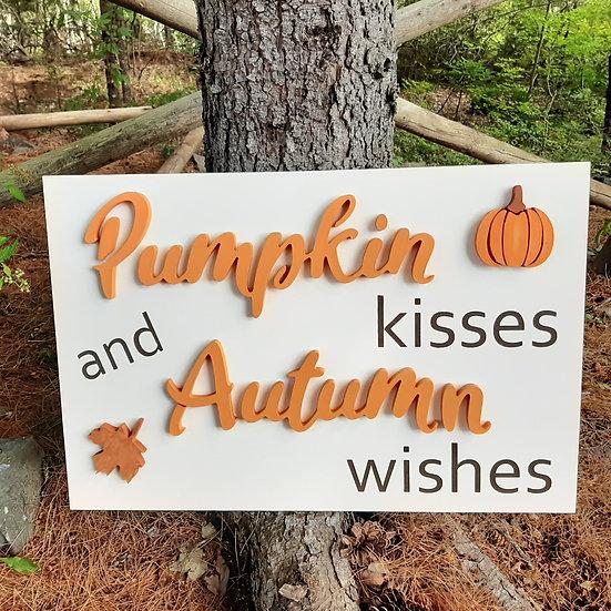 """SAMPLE 3D Sign """"Pumpkin Kisses"""" 16x24 MDF"""