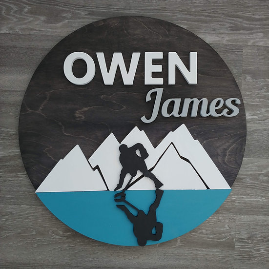 """3D sign - hockey reflection /Two Names 23.5"""" round fully finished"""