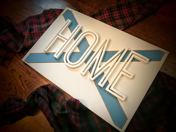 "3D Sign Project ""FLAG / HOME"" 16x24 MDF"