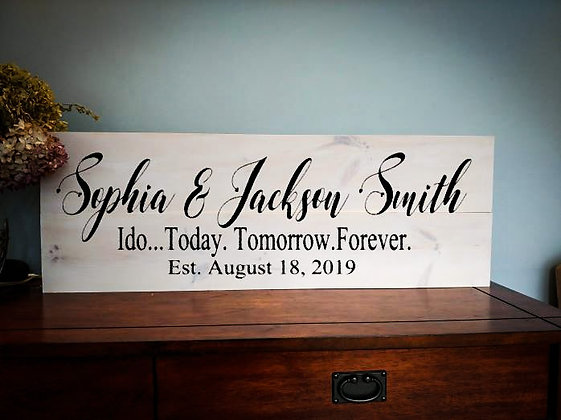 """Rustic Wooden Sign """"I Do""""  11""""x 32"""""""