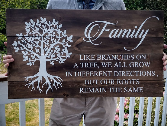 "Rustic Wooden Sign ""Family - Tree""   18""x32"""