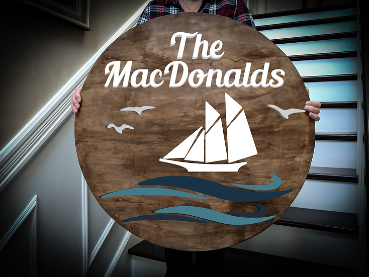"""3D sign - Surname - sailboat 23.5"""" round fully finished"""