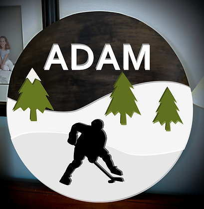 "3D sign - One Name - Hockey 23.5"" round fully finished"