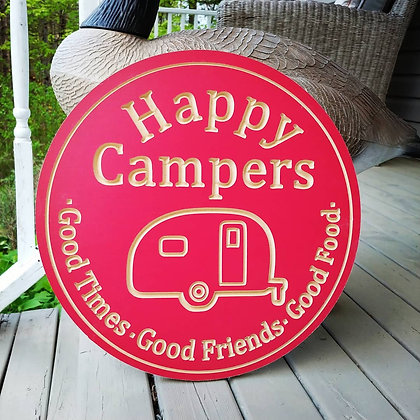 "Carved Wooden round 16"" ""Happy Campers"""