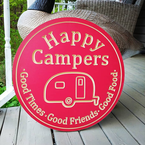 """Carved Wooden round 16"""" """"Happy Campers"""""""