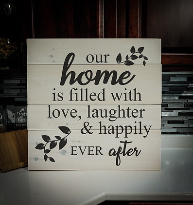 "Rustic Wooden Sign ""Happily Ever After"" 23""x23"""
