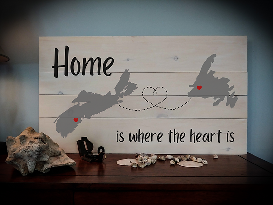 "Rustic Wooden Sign  ""Home is where the Heart is""  18""x32"" Fully Finished"