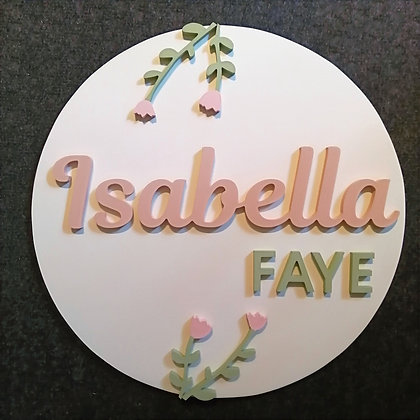"3D sign - Two Names - Tulips  23.5"" round  fully finished"