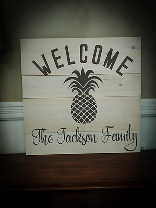 "Rustic Wooden Sign ""Welcome Pineapple"" 23""x23"""