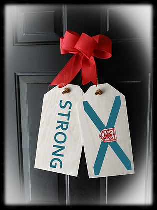 "Wooden Door Tags ""STONG / FLAG"" fully finished"