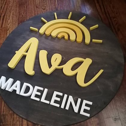 """3D Wooden Sign Project """" Sunshine 2 name"""" 23.5"""" round"""