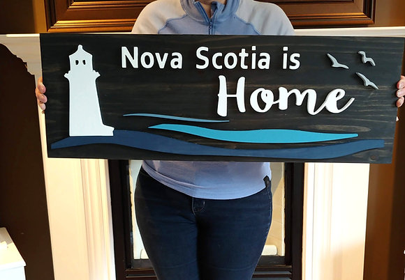 "3D wooden sign  ""Lighthouse NS""  11""x32""   S.Large"