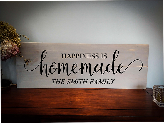 "Rustic Wooden Sign Project ""Homemade""  11""x 32"""