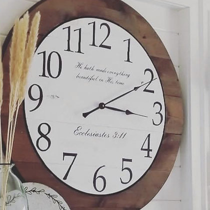 """CUSTOM 3D clock on knotty pine with stencil 30"""" round"""