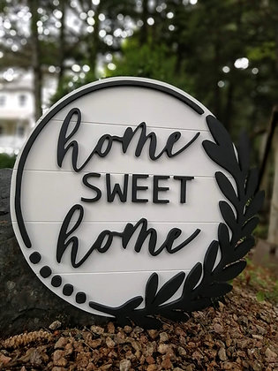 "CUSTOM 3D sign - ""LOVE AT HOME -  23.5""  round fully finished"