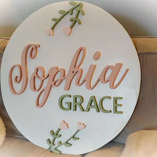 """3D wooden sign project """"Two Names + tulips""""  23.5"""" round"""