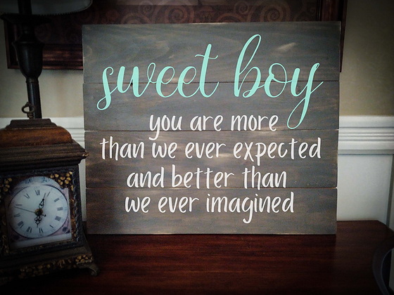 "Rustic Wooden Sign ""Sweet Boy"" 20""x24"""
