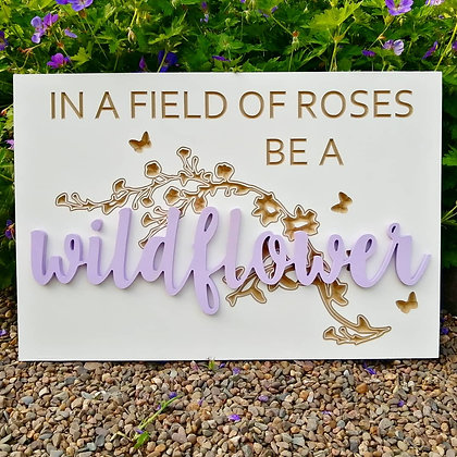 "Carved / 3D sign - wildflower -  16""x24""  MDF fully finished"