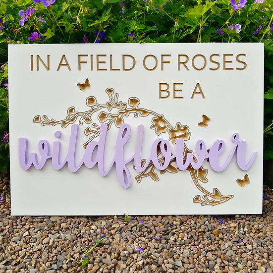 """Carved / 3D sign - wildflower -  16""""x24""""  MDF fully finished"""