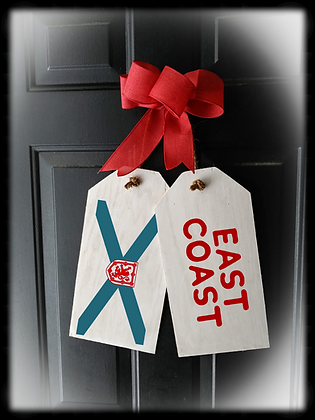 "Wooden project Door Tags ""EAST COAST / FLAG"""