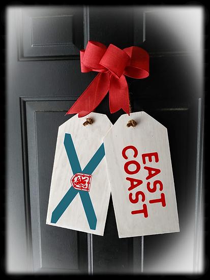 "Wooden project Door Tags ""EAST COAST / FLAG"""